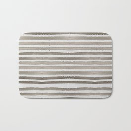 Simply Shibori Stripes Earth Brown on Lunar Gray Bath Mat