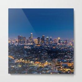 Los Angeles, California, I love LA Downtown Skyline, Golden lights, USA Sunset Blvd, Palms, Cali Map Metal Print