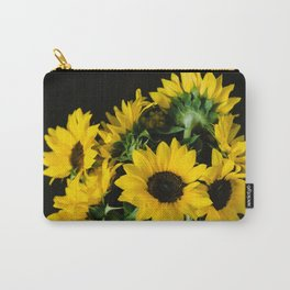Yellow Sunflowers on Black Carry-All Pouch