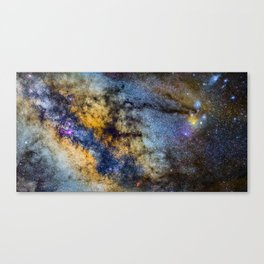 The Milky Way and constellations Scorpius, Sagittarius and the super big red star Antares. Canvas Print