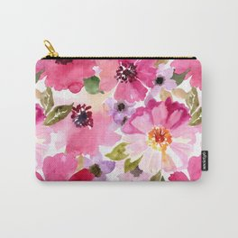 Watercolor Flowers Pink Fuchsia Carry-All Pouch