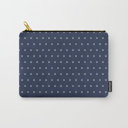 Navy blue and White cross sign pattern Carry-All Pouch
