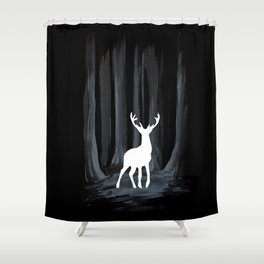 Glowing White Stag Shower Curtain