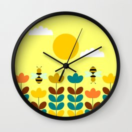 Flowers with bees Wall Clock
