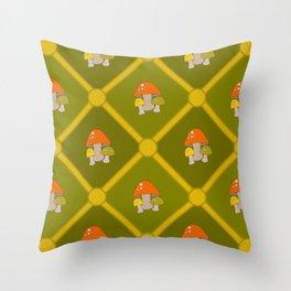 Retro Mushrooms Throw Pillow
