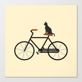 Cat Riding Bike Canvas Print