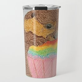 Otter with rainbow cupcake Travel Mug