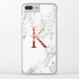 Monogram rose gold marble K Clear iPhone Case