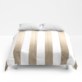 Simply Vertical Stripes in White Gold Sands Comforters