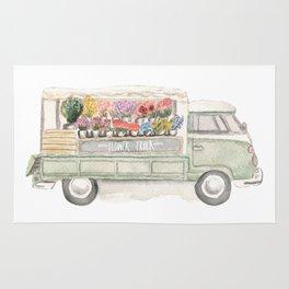 Flower Truck Watercolor Print Mint Rug