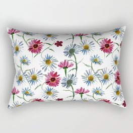Watercolor rose and blue camomiles Rectangular Pillow
