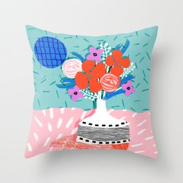 Oh Ay - memphis throwback still life retro florals modern minimal collage patterns Throw Pillow