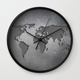World Map Metal engraved Wall Clock