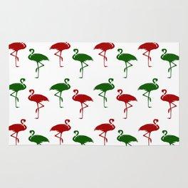 Flamingos Christmas Pattern Red Green Rug