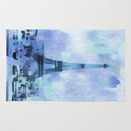 Blue Eifel Tower Paris France abstract painting Rug