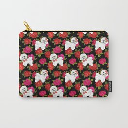 Bichon Frise dogs red rose floral for dog lovers Carry-All Pouch