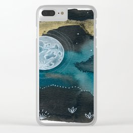Moon Series #6 Watercolor + Ink Painting Clear iPhone Case