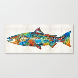 Fish Art Print - Colorful Salmon - By Sharon Cummings Canvas Print