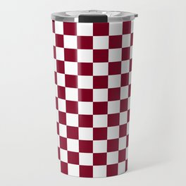 White and Burgundy Red Checkerboard Travel Mug