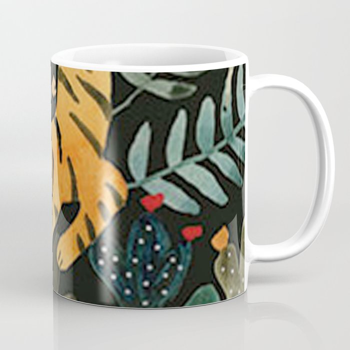 Floral Jungle Tiger Pattern Coffee Mug