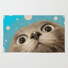 """Fun Kitty and Polka dots"" Rug"