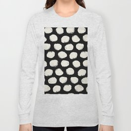 Trendy Cream Polka Dots on Black Long Sleeve T-shirt