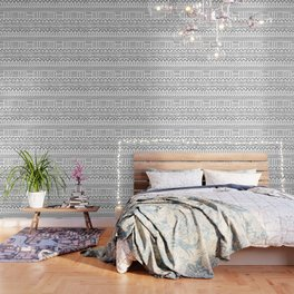Mud Cloth on White Wallpaper
