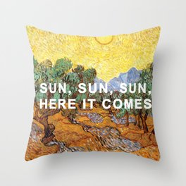 Here Comes the Yellow Sky and Sun Throw Pillow