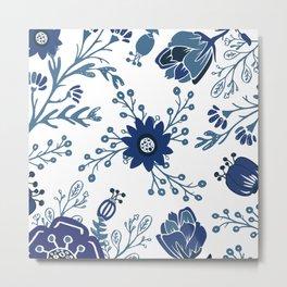 Porcelain Flowers Metal Print