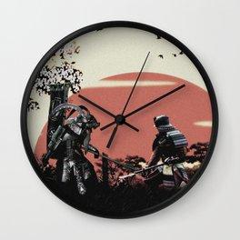 Black and white samurais Wall Clock