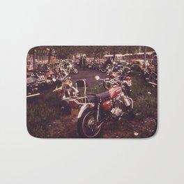 Parked Motorcycles Vintage Photograph Bath Mat
