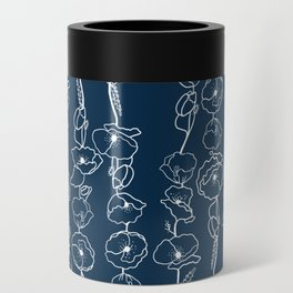poppy vines on navy Can Cooler