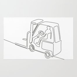 Forklift Truck Continuous Line Rug