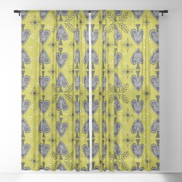 Spade and Flowers Painting Sheer Curtain