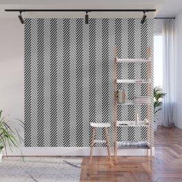 Black White & Grey Herringbone Fish Pattern Wall Mural