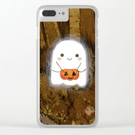 Little ghost and pumpkin Clear iPhone Case