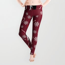Boston Terrier santa hats candy canes and snowflakes dog pattern gifts by pet friendly Leggings