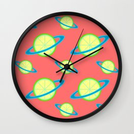 Planet Lime Pattern | Solar System | Space | Citrus Planets | Tropical Fruit | pulps of wood Wall Clock