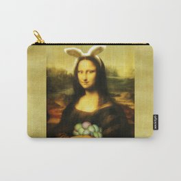 Easter Mona Lisa with Bunny Ears and Colored Eggs Carry-All Pouch