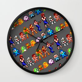 8-bit heroes (NES) | grey | retrogaming nostalgia Wall Clock
