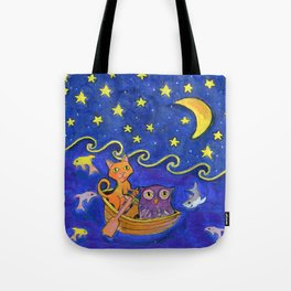 Owl and Pussycat rowed at night Tote Bag