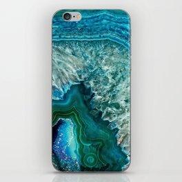 Aqua turquoise agate mineral gem stone - Beautiful Backdrop iPhone Skin
