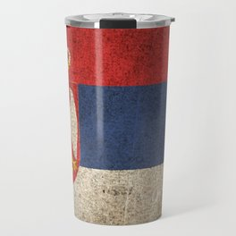 Old and Worn Distressed Vintage Flag of Serbia Travel Mug