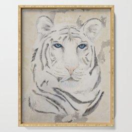Original Art - White Tiger Original Painting (highly textured)  #white Serving Tray