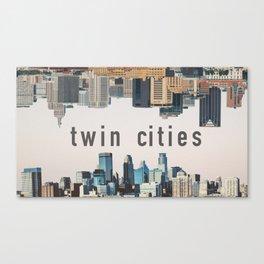 Twin Cities Minneapolis and Saint Paul Minnesota Skylines Canvas Print