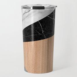 Marble, Garnite, Teak Wood Abstract Travel Mug