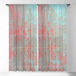 texture - aqua and red paint Sheer Curtain