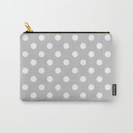 Polka Dots (White & Gray Pattern) Carry-All Pouch