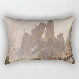 Caspar David Friedrich - Rocky Lanscape in the Elbe Sandstone Mountains Rectangular Pillow