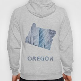 Oregon map outline Light steel blue clouded wash drawing Hoody